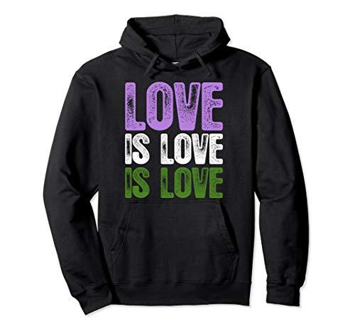 Love is Love is Love Genderqueer Pride Pullover Hoodie