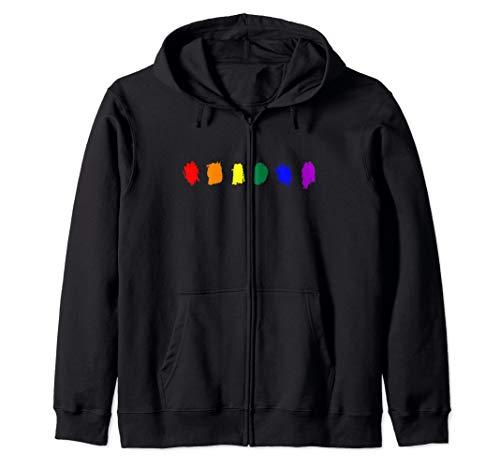 Minimal LGBT Pride Flag Strokes Zip Hoodie