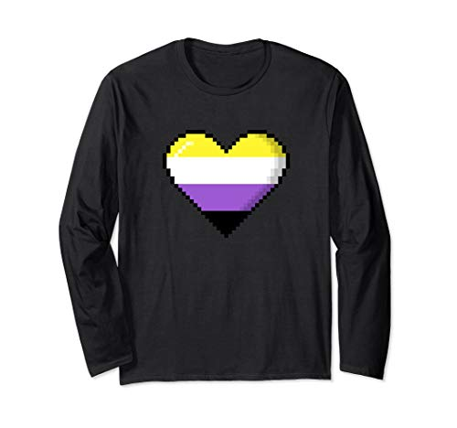 Nonbinary Pride 8-Bit Pixel Heart Long Sleeve T-Shirt