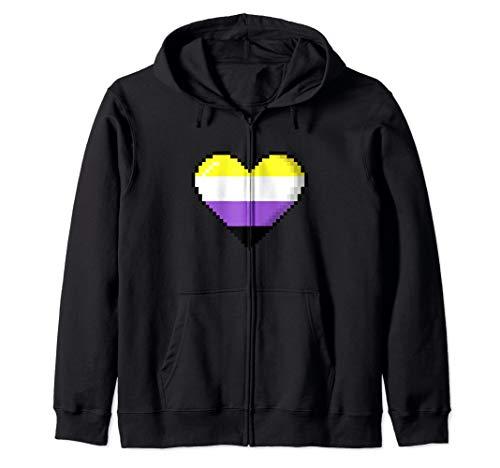 Nonbinary Pride 8-Bit Pixel Heart Zip Hoodie