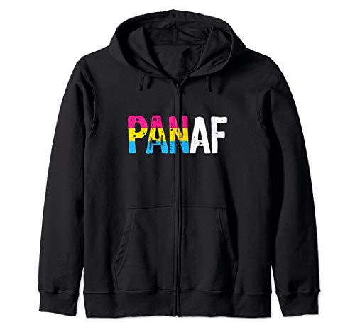 PAN AF Pan as Fuck Pansexual Pride Flag Zip Hoodie