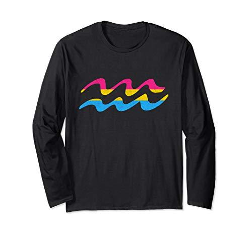 Pansexual Pride Flag Aquarius Zodiac Sign Long Sleeve T-Shirt