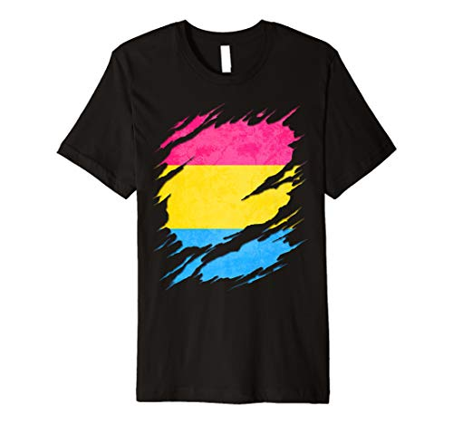 Pansexual Pride Flag Ripped Reveal Premium T-Shirt