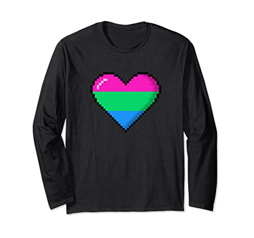 Polysexual Pride 8-Bit Pixel Heart Long Sleeve T-Shirt