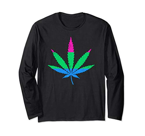 Polysexual Pride Flag Marijuana Pot Leaf Long Sleeve T-Shirt