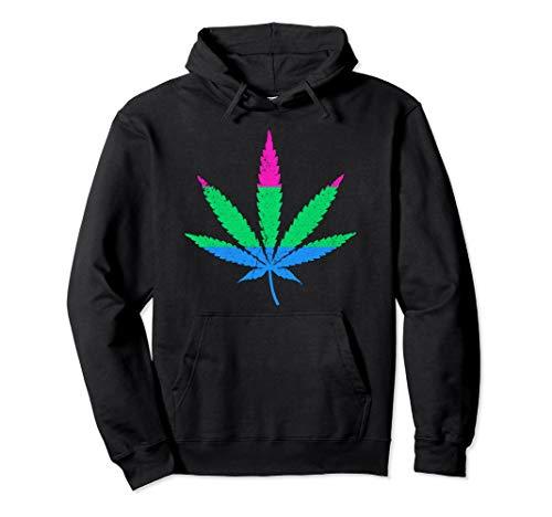 Polysexual Pride Flag Marijuana Pot Leaf Pullover Hoodie