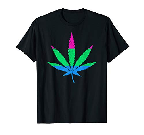 Polysexual Pride Flag Marijuana Pot Leaf T-Shirt