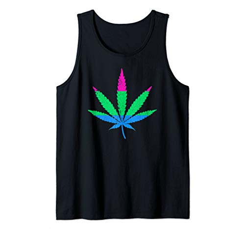 Polysexual Pride Flag Marijuana Pot Leaf Tank Top