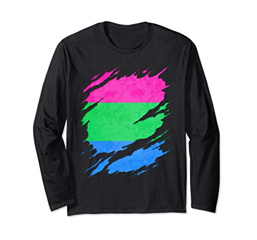 Polysexual Pride Ripped Reveal Long Sleeve T-Shirt