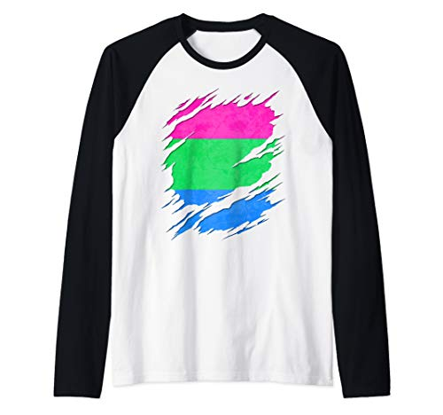 Polysexual Pride Ripped Reveal Raglan Baseball Tee