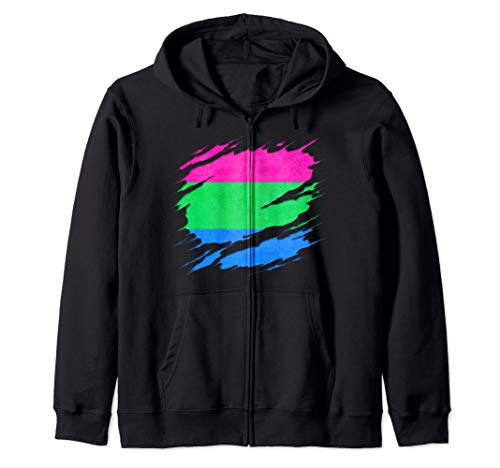 Polysexual Pride Ripped Reveal Zip Hoodie