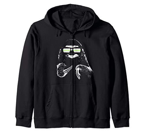 Pride Sloth Agender Flag Sunglasses Zip Hoodie