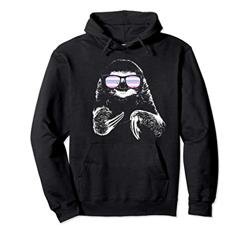 Pride Sloth Bigender Flag Sunglasses Pullover Hoodie