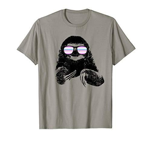 Pride Sloth Bigender Flag Sunglasses T-Shirt