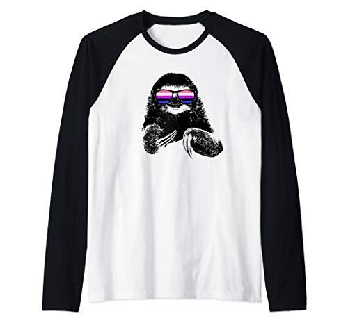 Pride Sloth Genderfluid Flag Sunglasses Raglan Baseball Tee