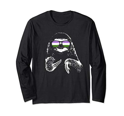 Pride Sloth Genderqueer Flag Sunglasses Long Sleeve T-Shirt