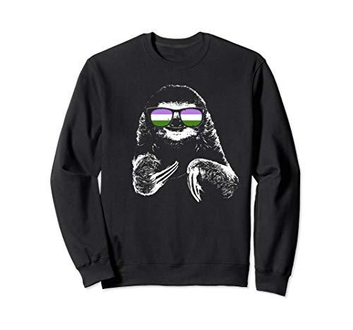 Pride Sloth Genderqueer Flag Sunglasses Sweatshirt