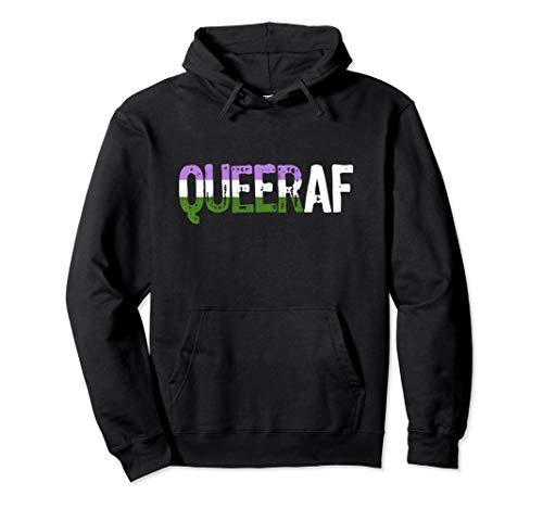 QUEER AF Queer as Fuck Genderqueer Pride Pullover Hoodie