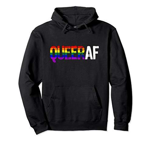 QUEER AF Queer as Fuck LGBTQ Pride Pullover Hoodie