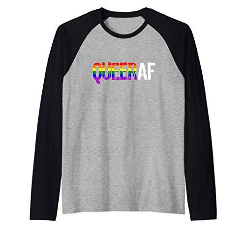QUEER AF Queer as Fuck LGBTQ Pride Raglan Baseball Tee