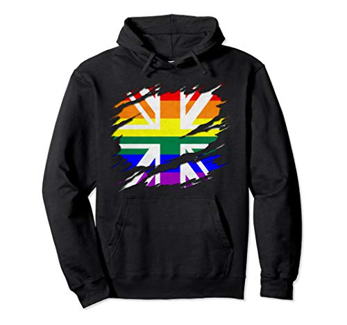 Rainbow Union Jack Ripped Reveal Pullover Hoodie