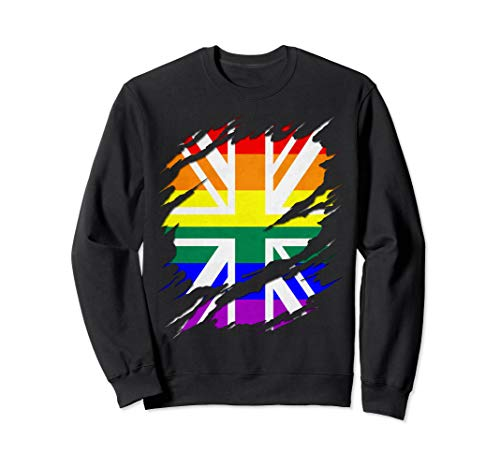 Rainbow Union Jack Ripped Reveal Sweatshirt
