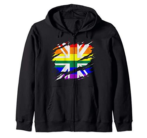 Rainbow Union Jack Ripped Reveal Zip Hoodie