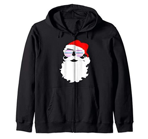 Santa Claus Bigender Pride Flag Sunglasses Zip Hoodie