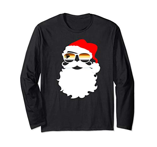 Santa Claus Gay Bear Pride Flag Sunglasses Long Sleeve T-Shirt