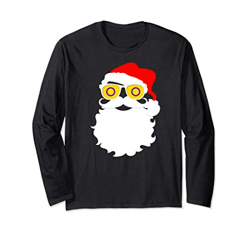 Santa Claus Intersex Pride Flag Sunglasses Long Sleeve T-Shirt