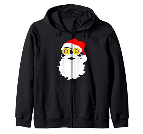 Santa Claus Intersex Pride Flag Sunglasses Zip Hoodie