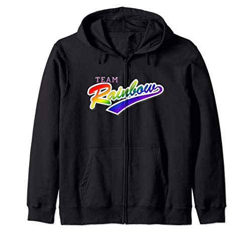 Team Rainbow LGBTQ Gay Pride Zip Hoodie