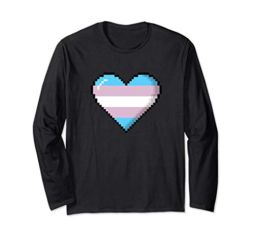 Transgender Pride 8-Bit Pixel Heart Long Sleeve T-Shirt
