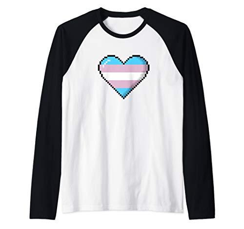 Transgender Pride 8-Bit Pixel Heart Raglan Baseball Tee