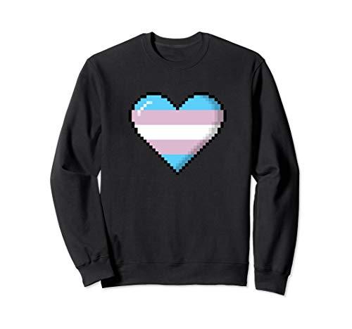 Transgender Pride 8-Bit Pixel Heart Sweatshirt