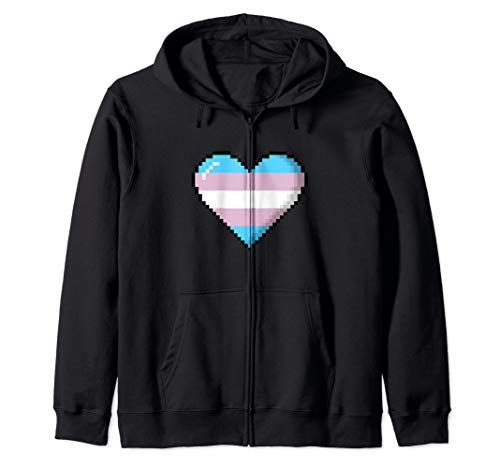 Transgender Pride 8-Bit Pixel Heart Zip Hoodie