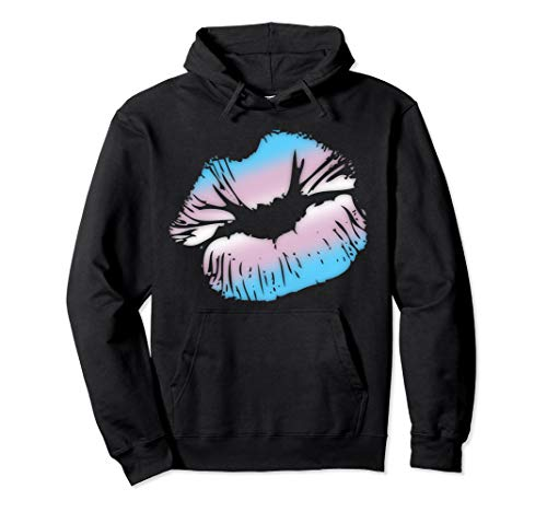 Transgender Pride Big Kissing Lips Pullover Hoodie