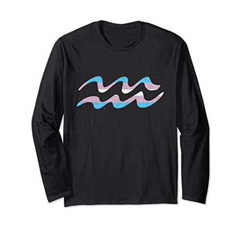 Transgender Pride Flag Aquarius Zodiac Sign Long Sleeve T-Shirt