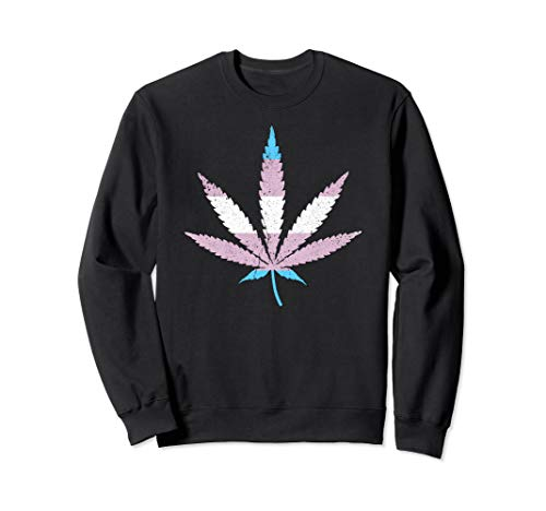 Transgender Pride Flag Marijuana Pot Leaf Sweatshirt