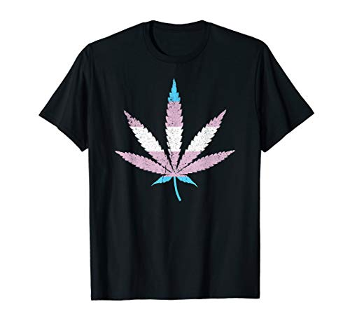 Transgender Pride Flag Marijuana Pot Leaf T-Shirt
