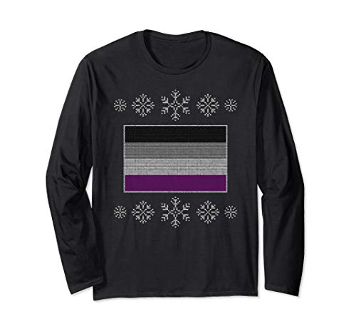 Ugly Christmas Asexual Pride Flag Design Long Sleeve T-Shirt
