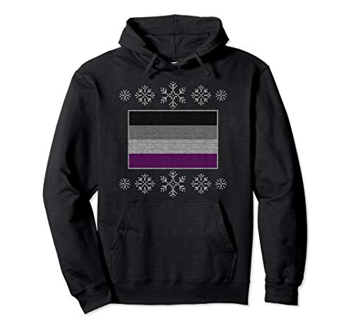 Ugly Christmas Asexual Pride Flag Design Pullover Hoodie