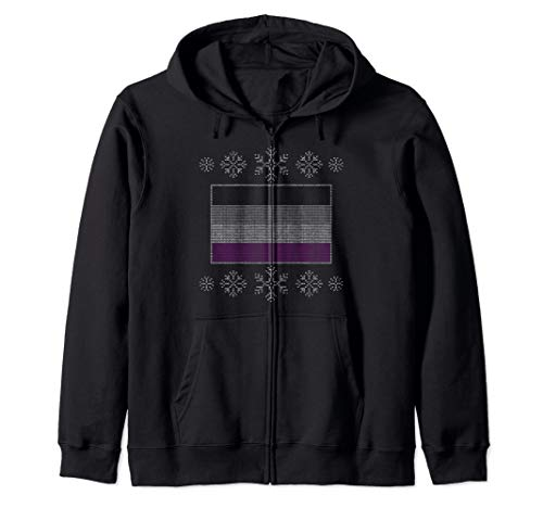 Ugly Christmas Asexual Pride Flag Design Zip Hoodie