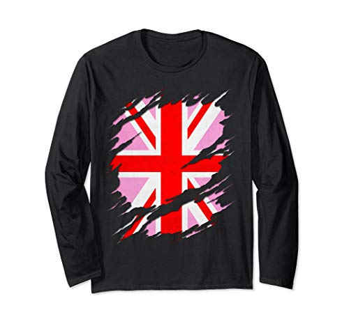 UK Pink Jack Ripped Reveal Long Sleeve T-Shirt