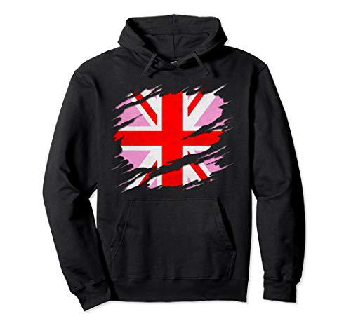 UK Pink Jack Ripped Reveal Pullover Hoodie