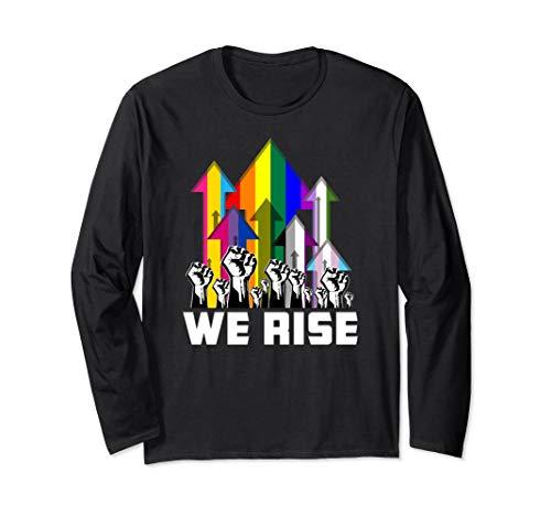 We Rise LGBTQIA Pride Flags Long Sleeve T-Shirt