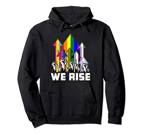 We Rise LGBTQIA Pride Flags Pullover Hoodie
