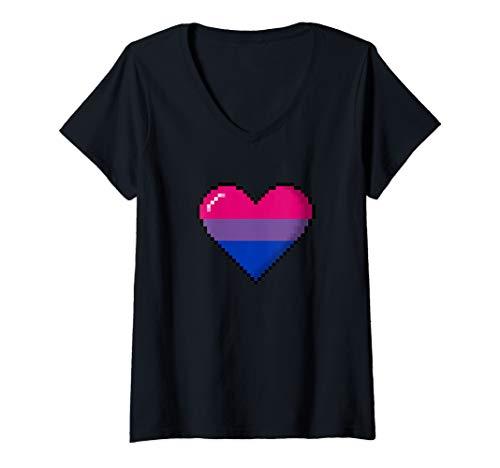 Womens Bisexual Pride 8-Bit Pixel Heart V-Neck T-Shirt