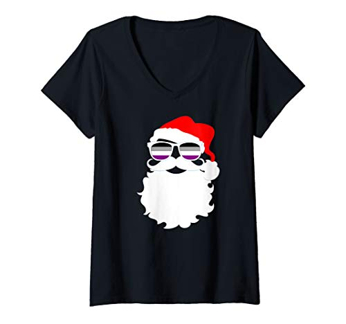 Womens Cool Santa Claus Asexual Pride Flag Sunglasses V-Neck T-Shirt