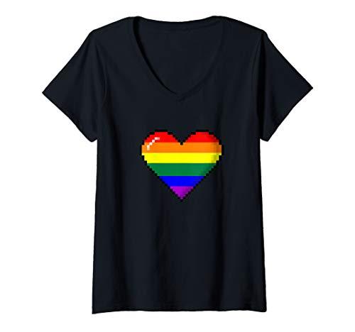 Womens LGBTQ Rainbow Pride 8-Bit Pixel Heart V-Neck T-Shirt